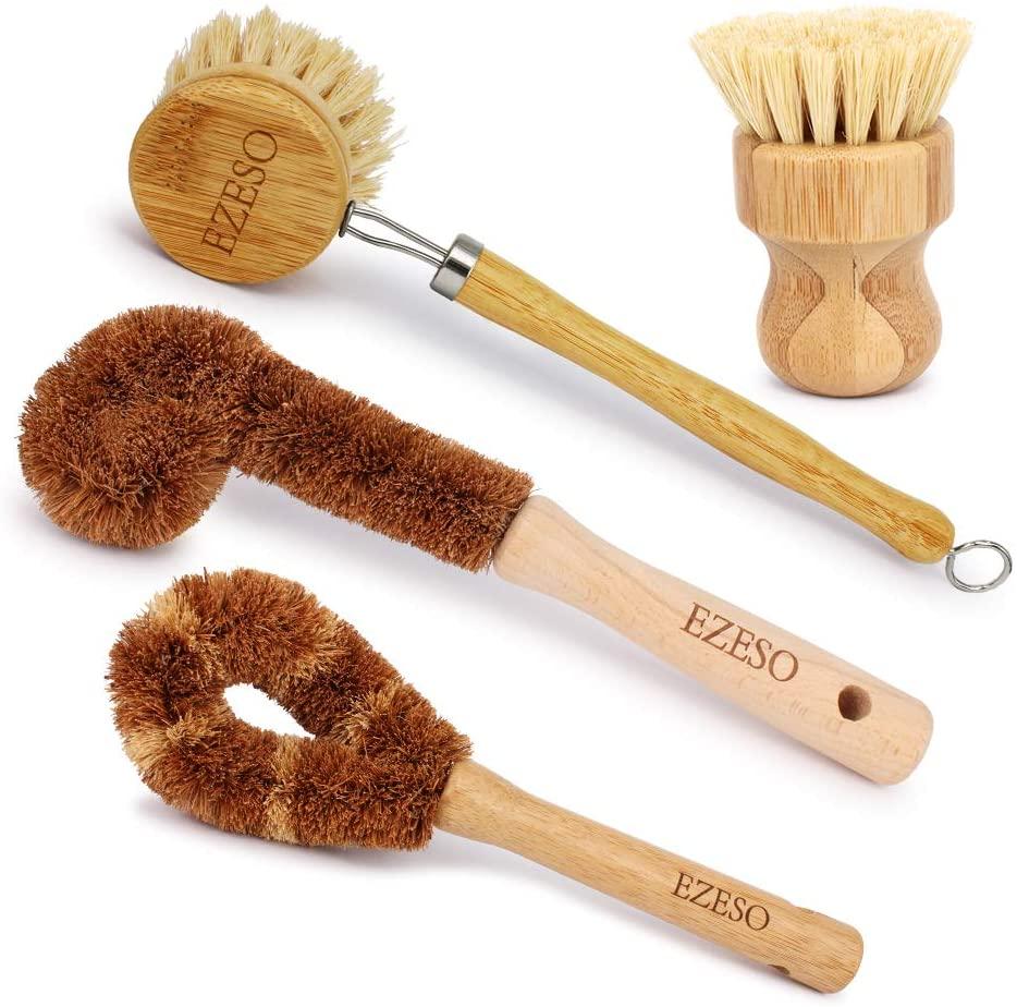 Ezeso Plant Based Cleaning Brush Set 4 Piece, Beech Wood and Coconut Bristle Wooden Pan & Pot Cleaning Brush - Bottle Brush - Dish Brush - Zero Waste & Biodegradable Kitchen Brushes