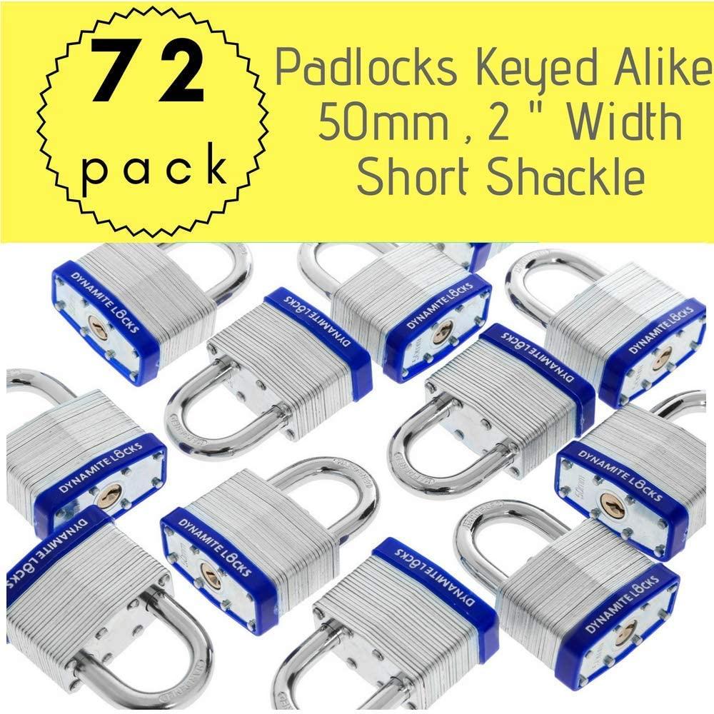 Pack of 72,Dynamite Padlocks Heavy Duty Laminated Steel Padlock Short Shackle Hardened Steel Shackle, Commercial Grade Keyed Alike 2-Inch, 50mm Padlocks Keyed Alike Set (72)