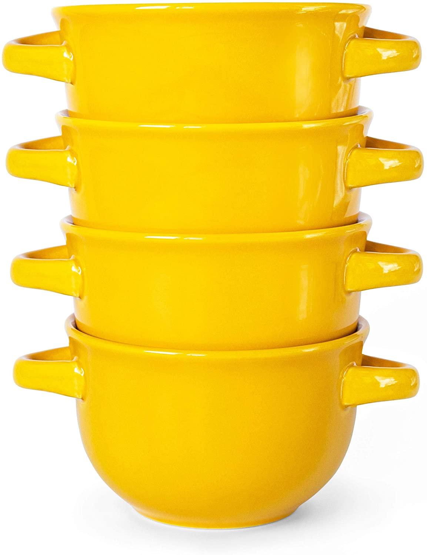 Soup Crocks with Handles, Ceramic Make, Soup, Chilli, by KooK, Yellow, Set of 4, 22oz