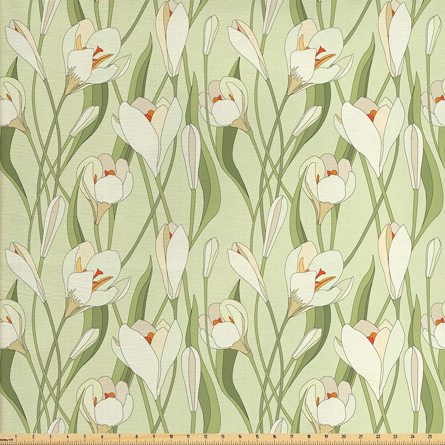 Ambesonne Garden Art Fabric by The Yard, Spring Flowers Bouquet Crocuses with Healthy Fresh Petals Botanical, Decorative Fabric for Upholstery and Home Accents, 2 Yards, Green Orange