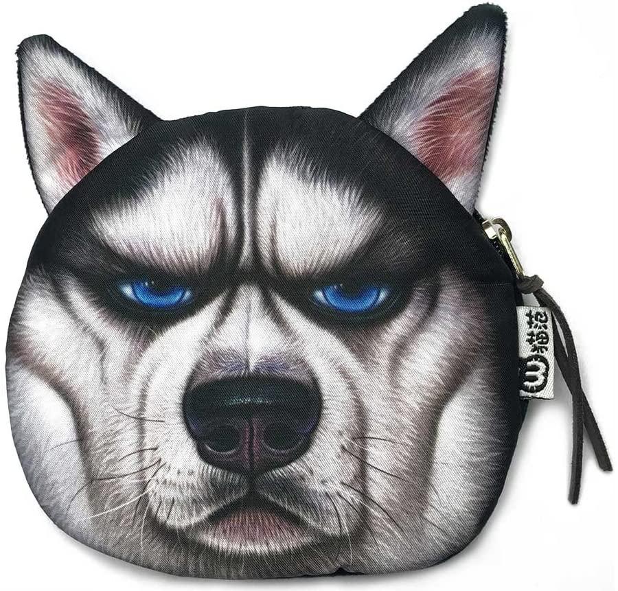Very Bad Husky Face Purse   Cute and Creative Dog Head Zipper Closure Coin Wallet