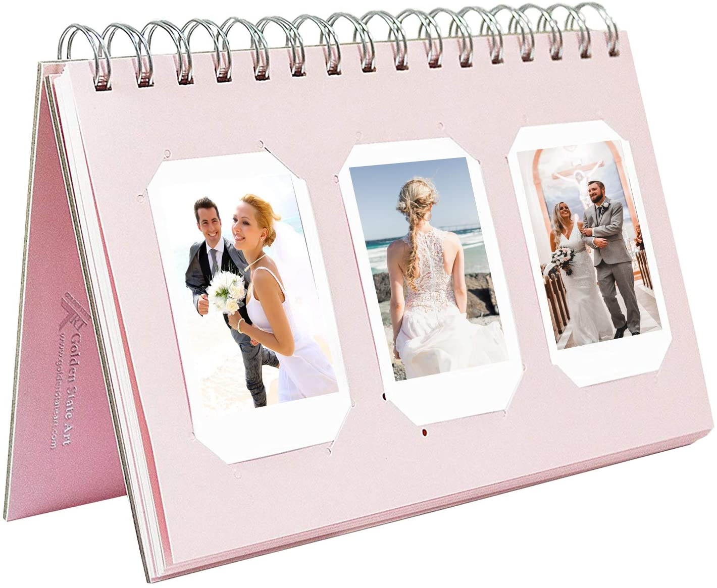 Golden State Art, Instax Frames Collection, Light Pink Photo Album Book Style, 60 Pockets, for Camera Fujifilm Instax Mini 7S 8 70 90 25 50S 8+ Film