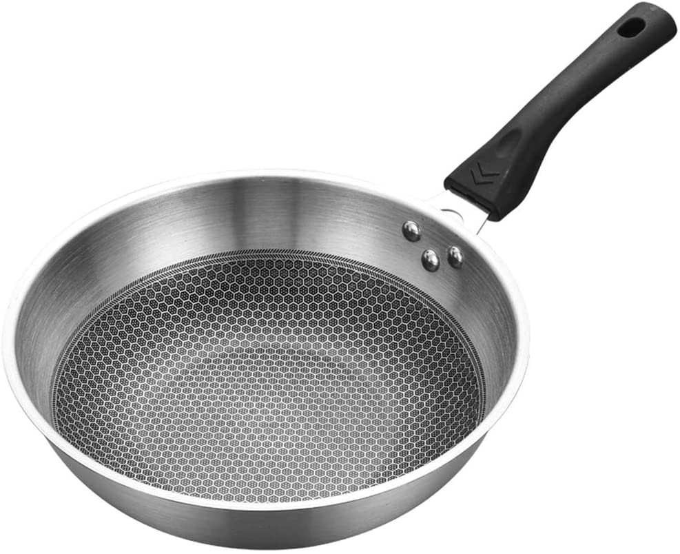 Extaum Stainless Steel Stir Fry Pan,Stainless Steel Stir Fry Pan with Helper Handle Non-Stick Cookware Flat Bottom Dishwasher Safe