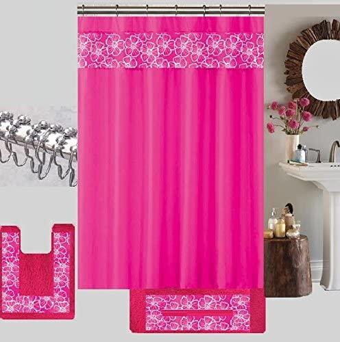 15 Piece Floral Embroidery Banded Bath Set 1 Large Bat Mat 1 Contour Mat 12 Pc Metal Roller Ball Shower Hooks (Hot Pink)