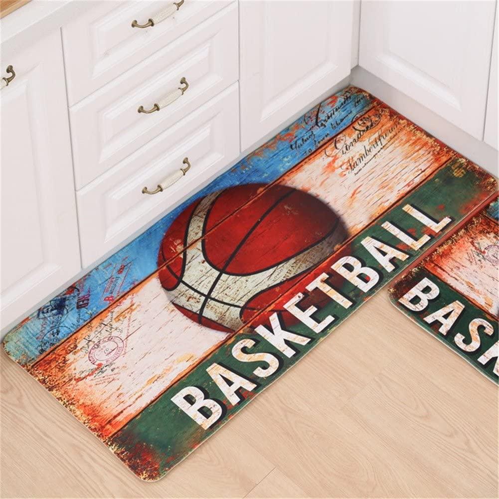 Mangadua Sports Ball Non Slip Area Rug Memory Foam Decorative Floor Mat Flannel Carpet (Basketball, 50x120cm/20