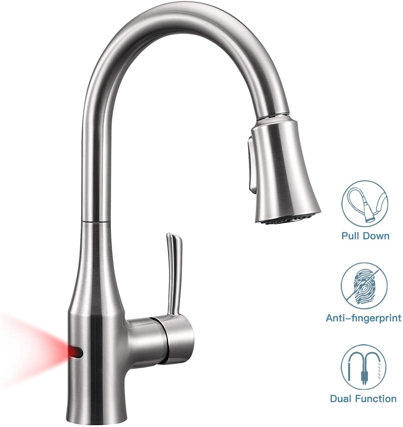 ANZA Touchless Sensor Kitchen Sink Dual-Function Sprayer, Modern Automatic High Arc Single Handle Faucet with Pull Out Spray Head, Spot Stainless Steel Finish, Lead Free, Medium, Resist