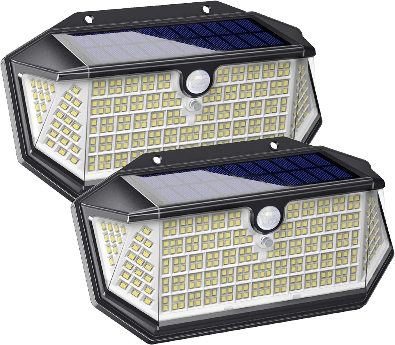 Solar Lights Outdoor 266 LED with Lights Reflector, IP65 Waterproof Solar Motion Sensor Security Lights, Wireless 3 Modes Wall Lights for Garden, Patio, Garage, Yard(2 Pack)