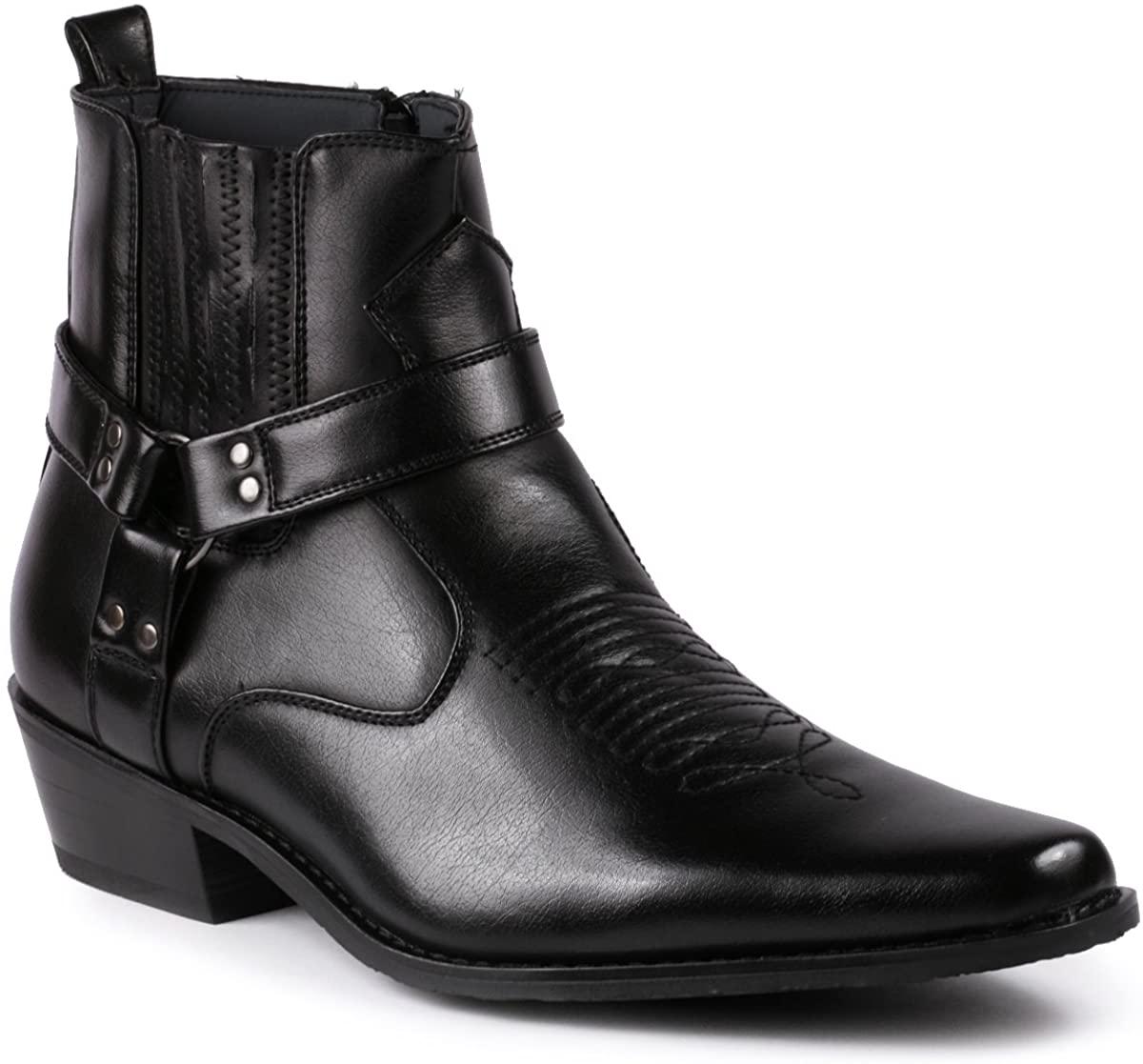 Metrocharm Diego-02 Mens Belt Strap Studded Western Cowboy Boots