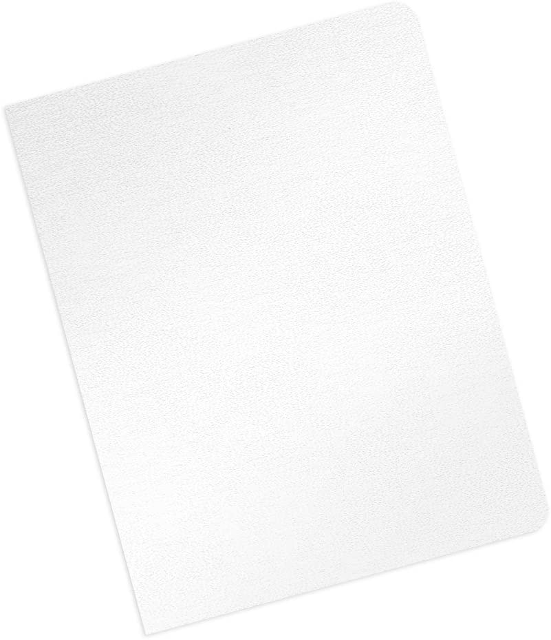 Leather Texture Paper Binding Covers - No Window - Round Corners - 16 Mil, Tabloid/Ledger Size - White Satin - Eco Friendly - 100 Pack