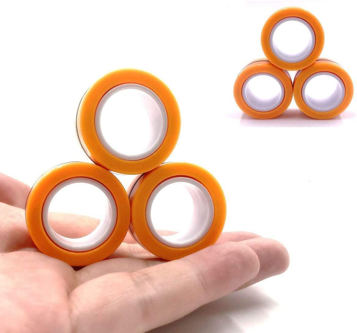 Zoin Random Color Magnetic Ring, Magnetic Finger Tip Toys,Decompression Ring Game, Magic Ring Game, Magnet Bracelet, Colorful Unzip Finger Game Finger Toy (Orange)
