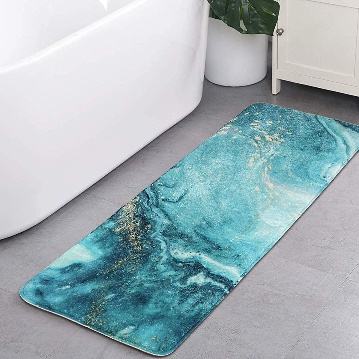 Aincanlx Bath Rug Runner 18x47 inch Turquoise Marble Bathroom Mat Non-Slip Long Shag Carpet Soft Luxury Microfiber Machine-Washable Floor Kitchen Throw Rug for Doormats Tub Shower