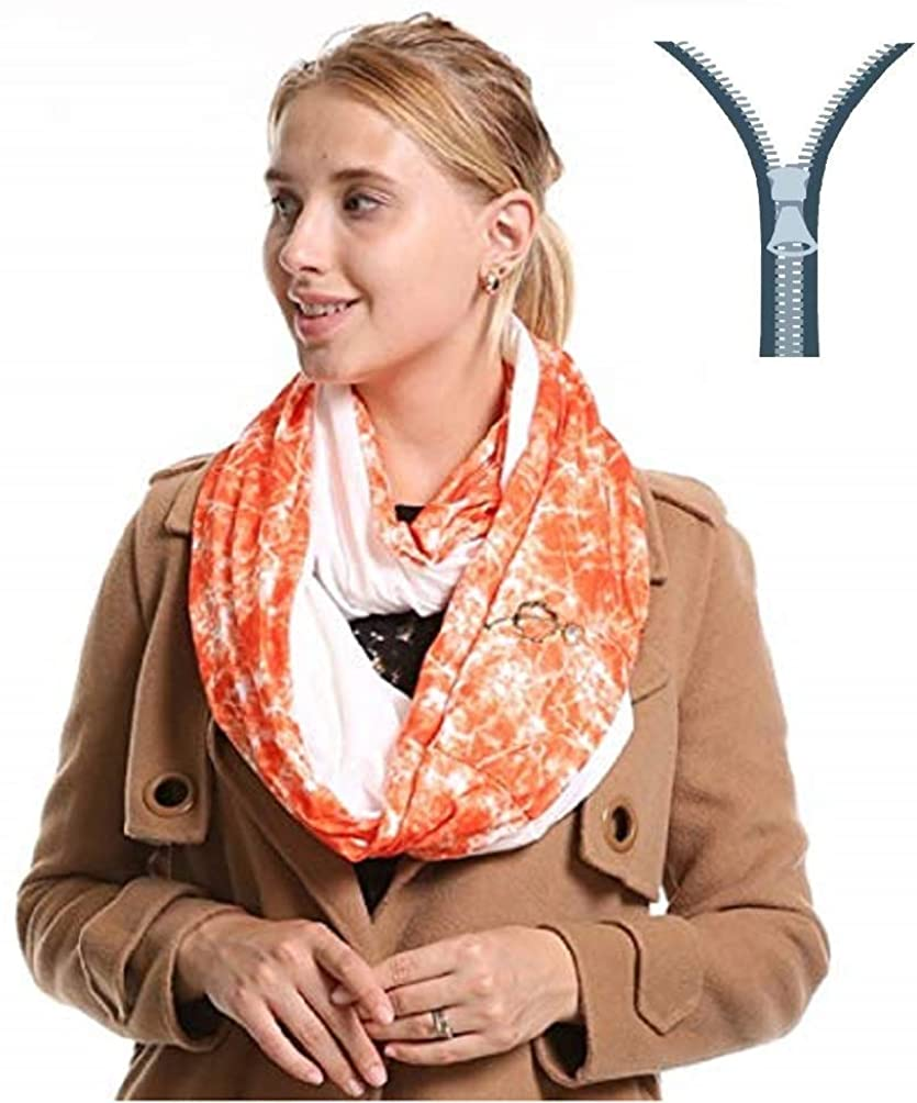 Infinity Scarf With Zipper Pockets - Secret Hidden Travel Scarves for Girls Women Men