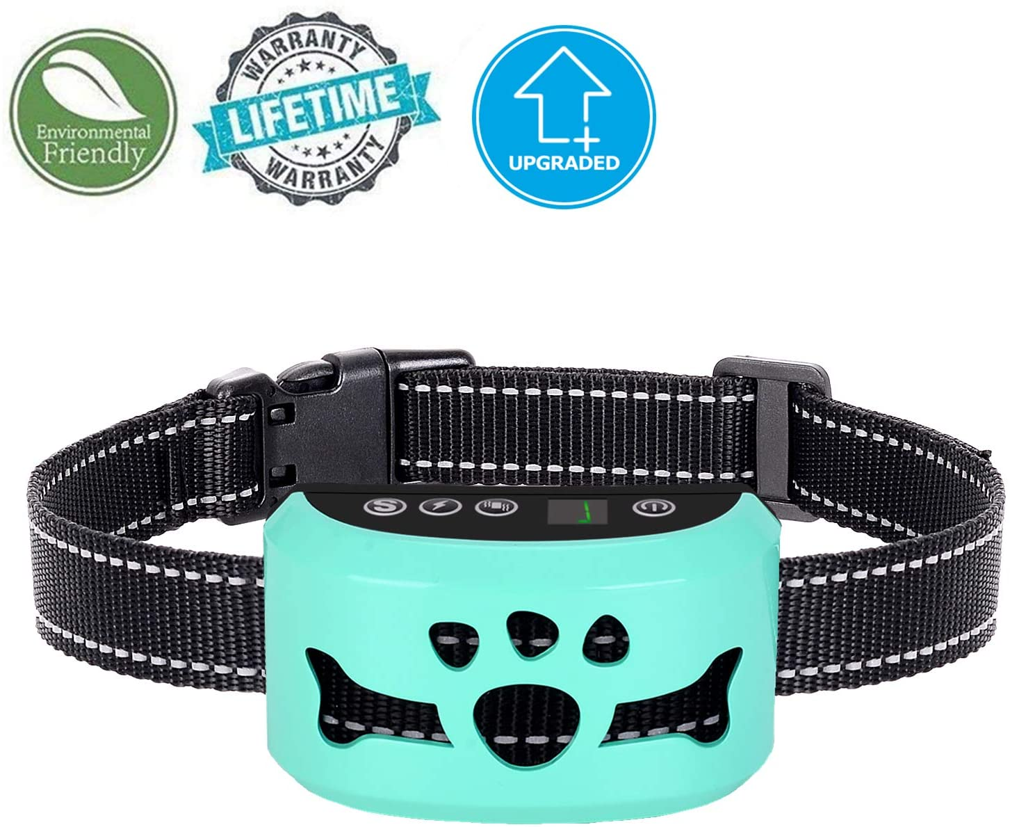 Bark Collar - Humane, No Shock Training Collar - Action Without Remote - Vibration & Sound Care Modes - for Small, Medium, Large Dogs Breeds - No Harm Deterrent Reflective Vibrating Control