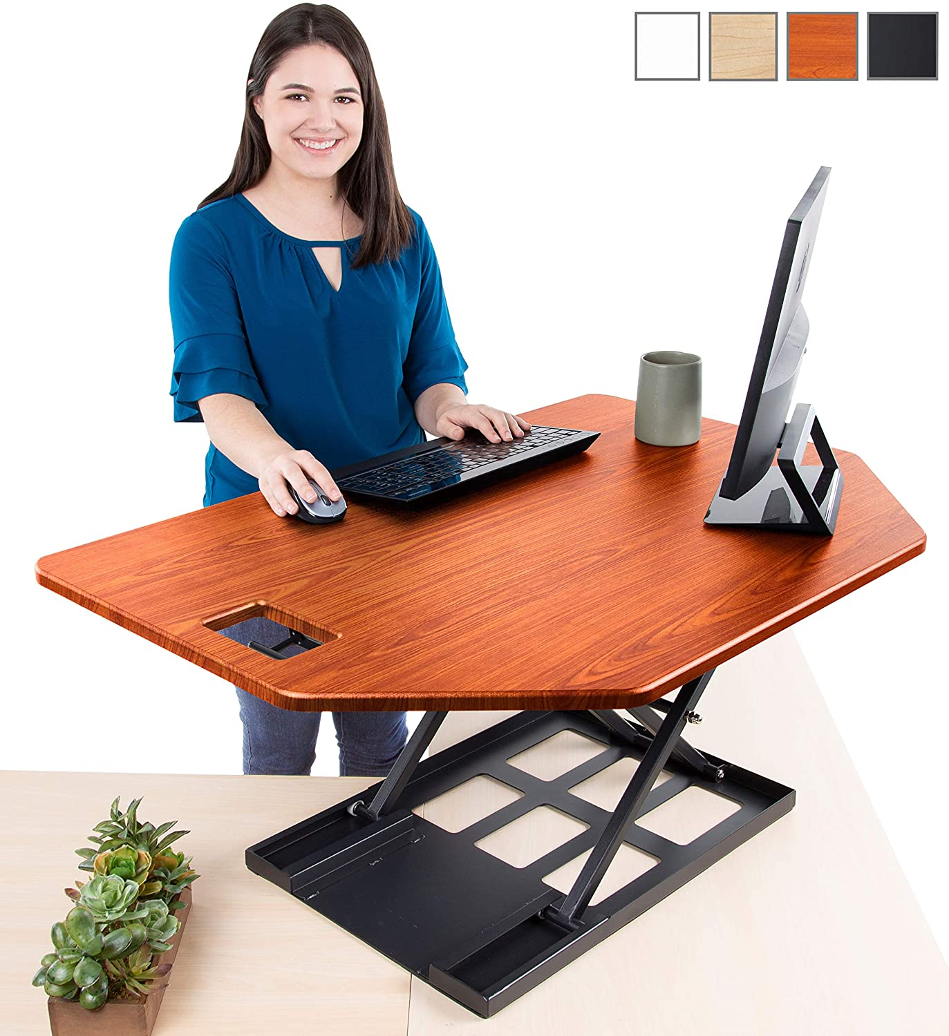 Stand Steady X-Elite Pro Corner Standing Desk | 40 Inch Corner Sit to Stand Desk Converter Ideal for Cubicles and L Shaped Desks! Easy Height-Adjustable and Fully Assembled! (Cherry)