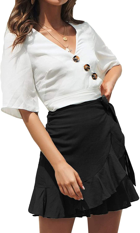 AIMCOO Womens Summer Wrap Skirt Polka Dot Leopard Print Waist Tie Ruffle Frill Mini Short Casual Skirts