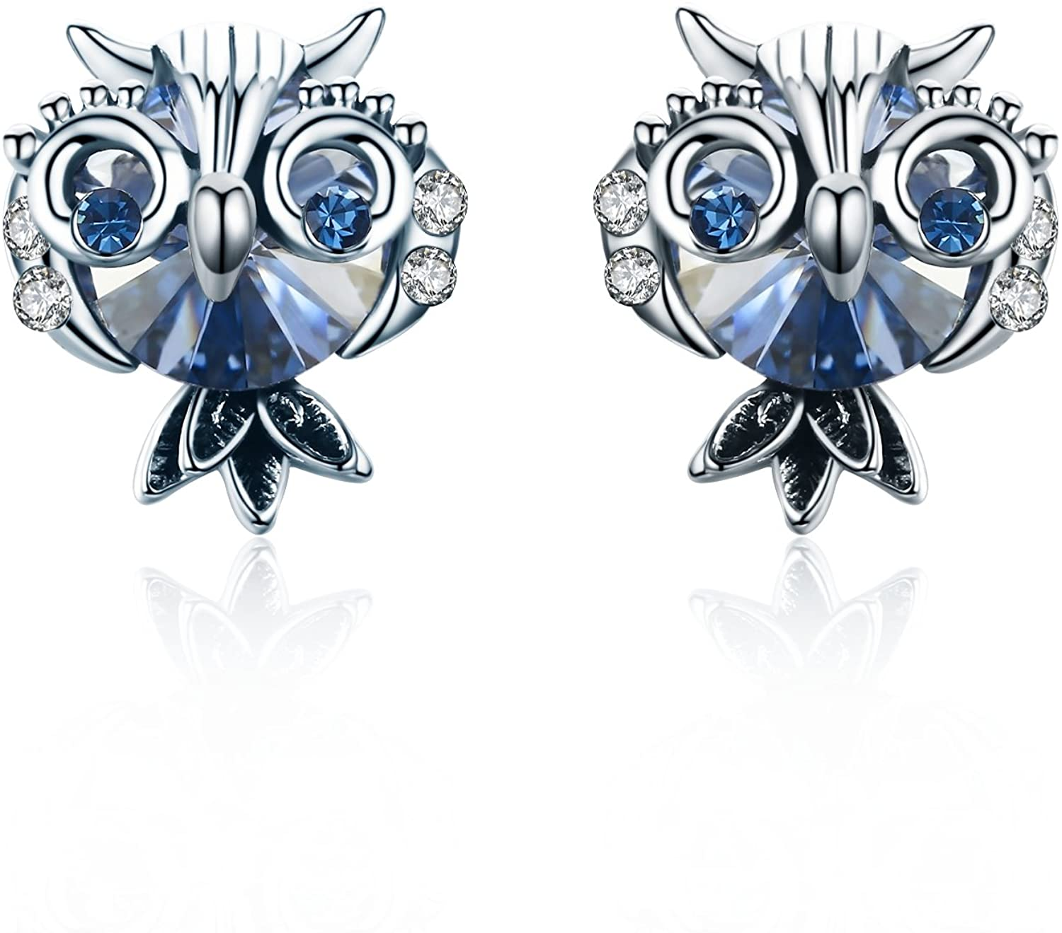 SBLING Blue Owl Stud Earrings Made with Swarovski Crystals (2.5 cttw)