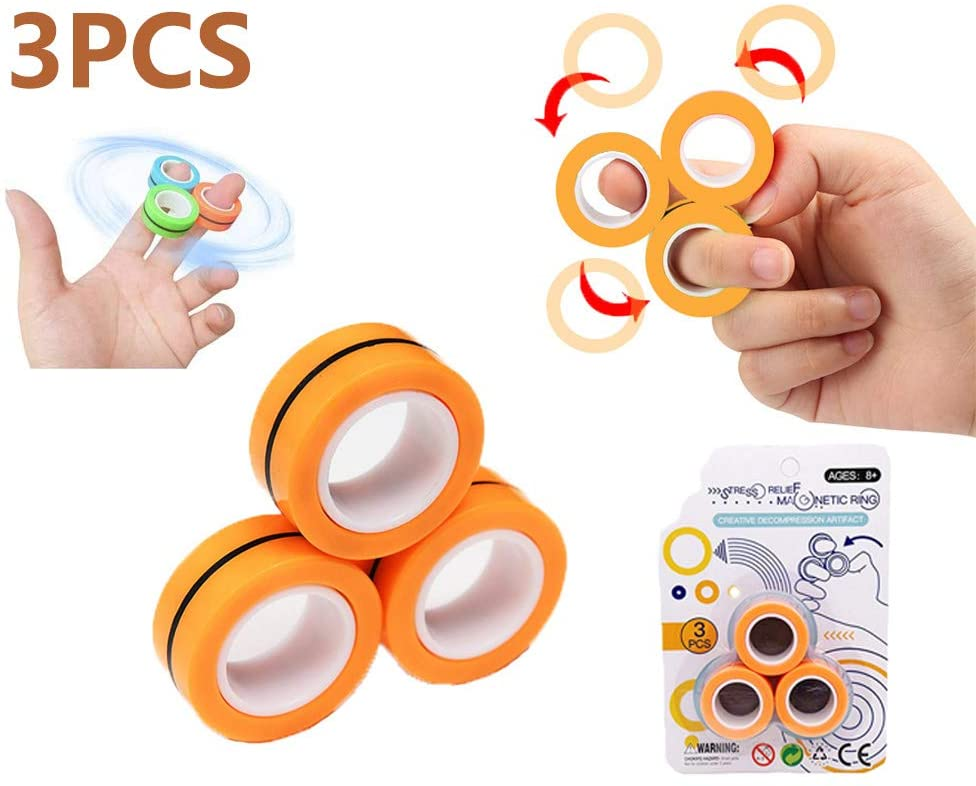 WELLSTRONG Magnetic Bracelet Ring Unzip Toy Magic Ring Props Tools Decompression Toys Magnetic Ring Blister Card Anti-Stress Magnetic Rings
