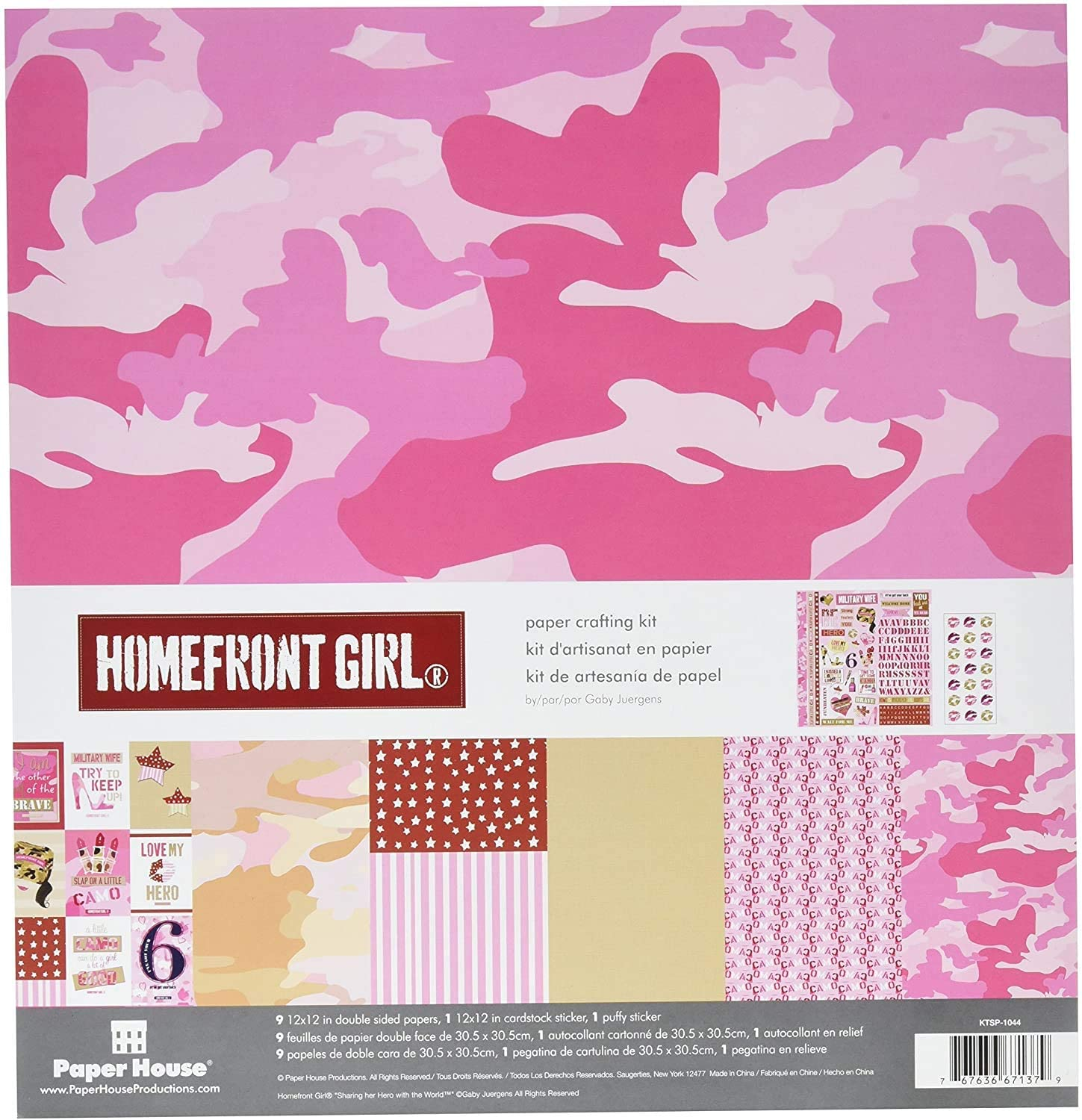 Paper House Productions KTSP-1044E Homefront Girl Pink Camouflage Paper Crafting Kit, Pack of 3