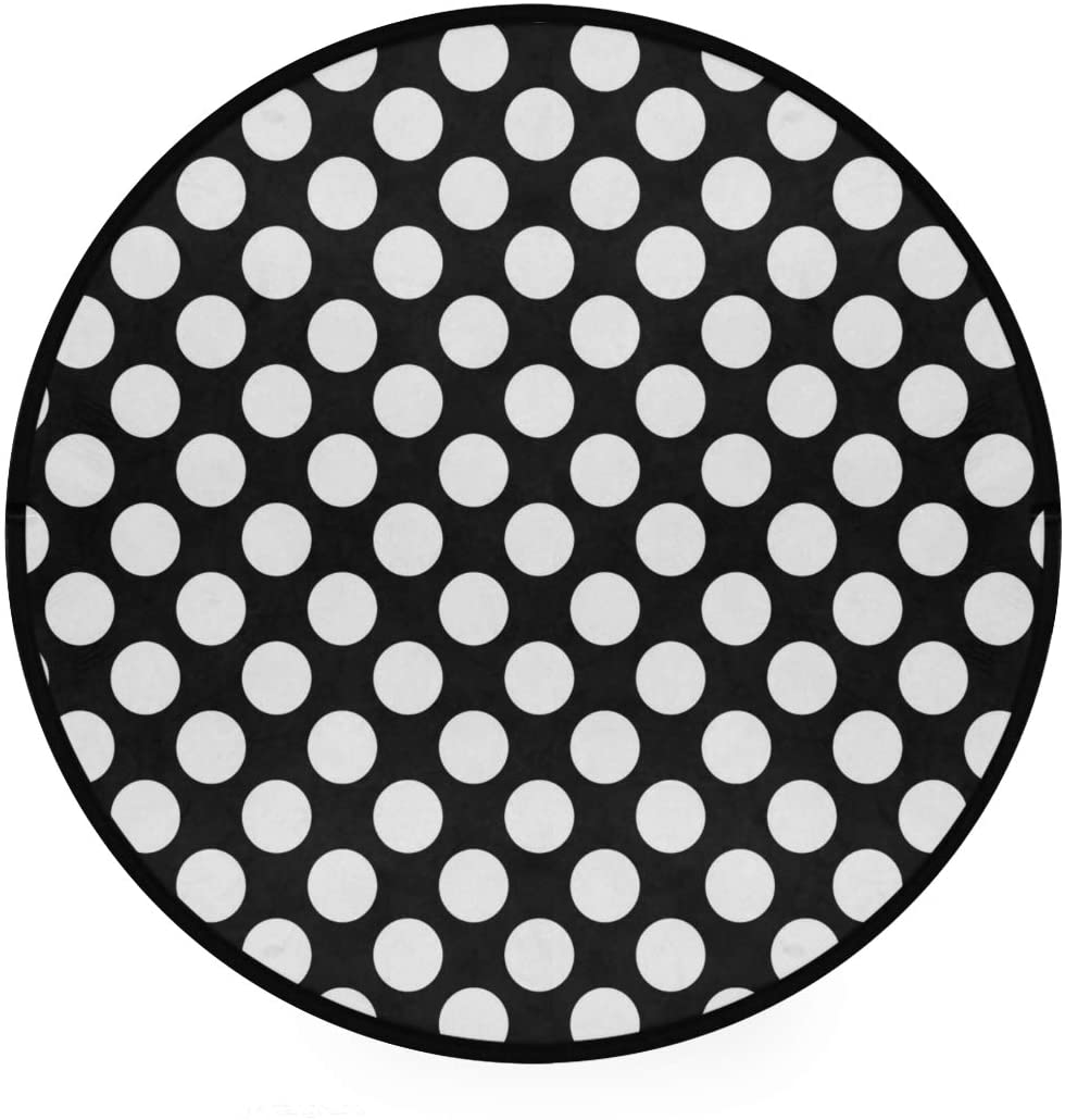 Black White Dot Soft Spa Polyester Round Bath Mat or Rug Place in Front of Shower, Vanity, Bath Tub, Sink, and Toilet, 36