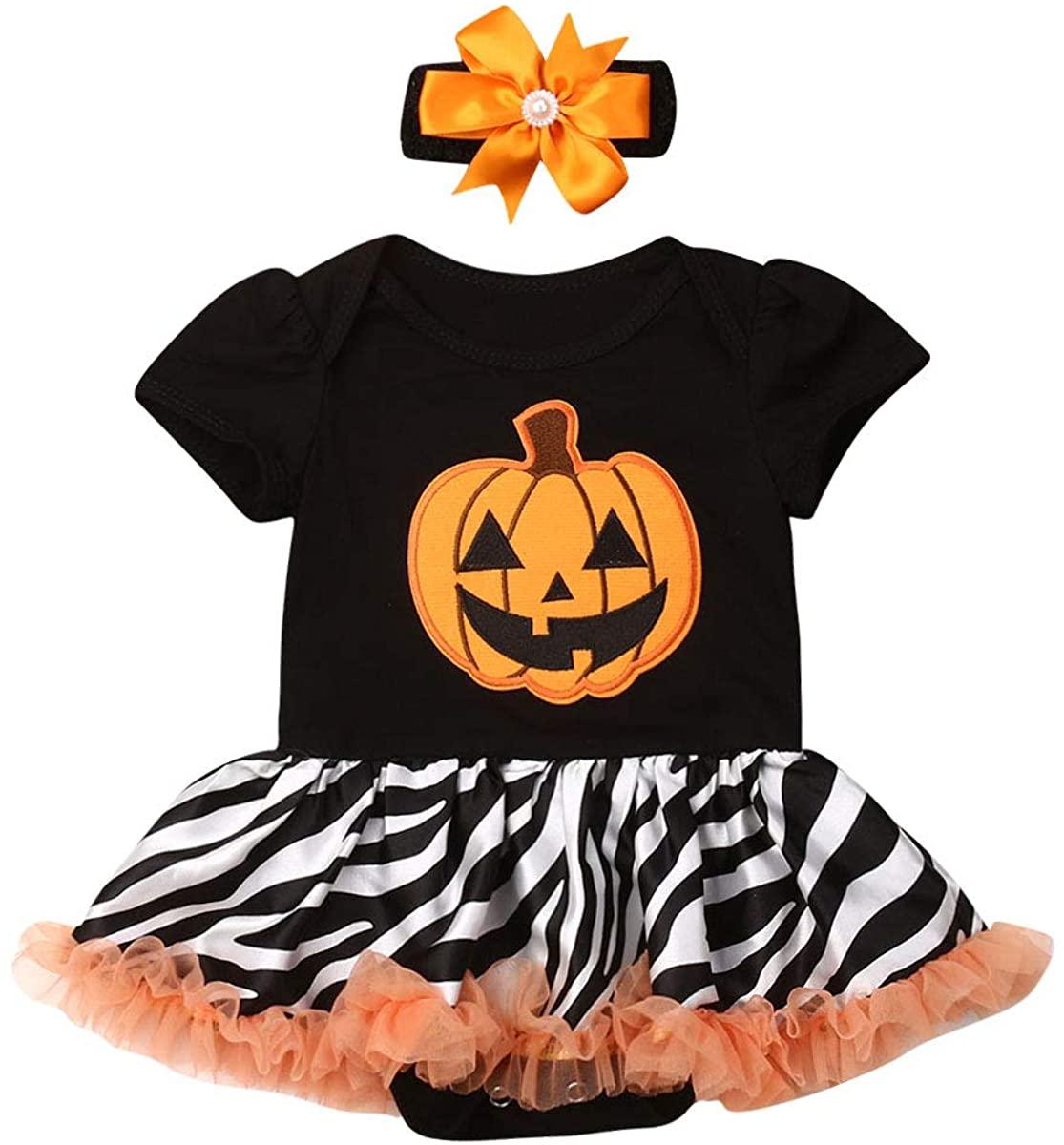 Baby Girl Halloween Costumes Skull Short Sleeve Shirt Top Pumpkin Tutu Skirt Bowknot Dress Toddler Kid Outfits Clothing