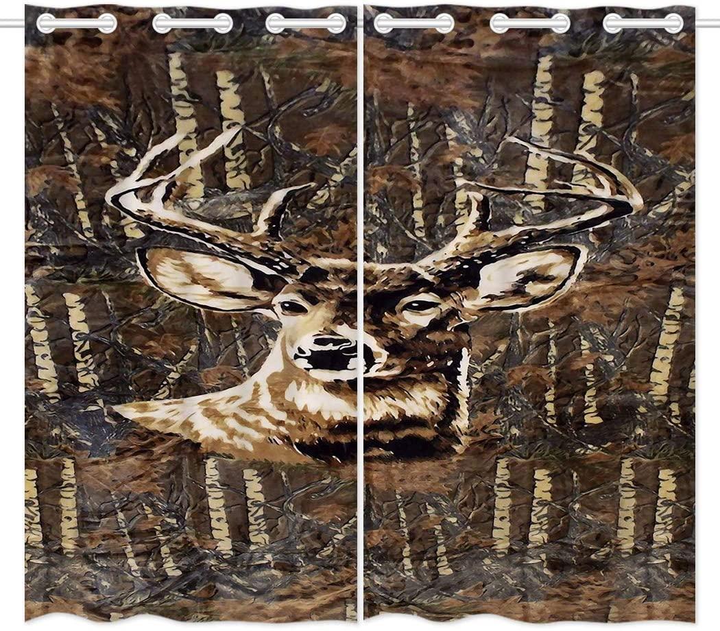 HommomH 24 x 36 inch Curtains (2 Panel) Grommet Top Darkening Blackout Room Deer Camo Camouflage
