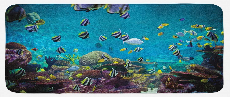 Lunarable Ocean Kitchen Mat, Untouched Wild Underwater Aquatic World Corals Exotic Fishes Seascape, Plush Decorative Kitchen Mat with Non Slip Backing, 47