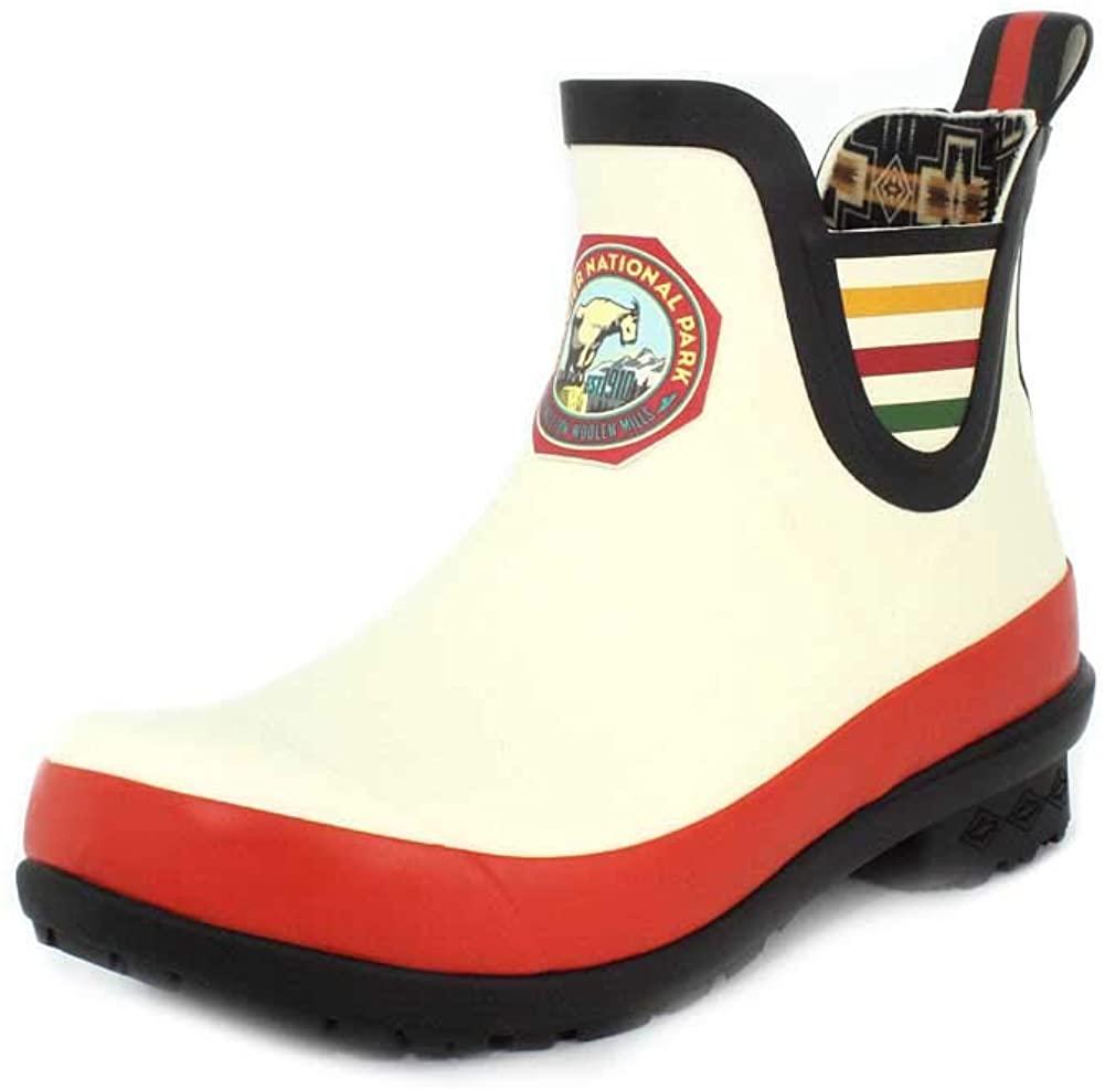 Pendleton Women's Heritage National Park Chelsea Ankle Length Slip-Resistant Rain Boot, Glacier Park White, Size 6