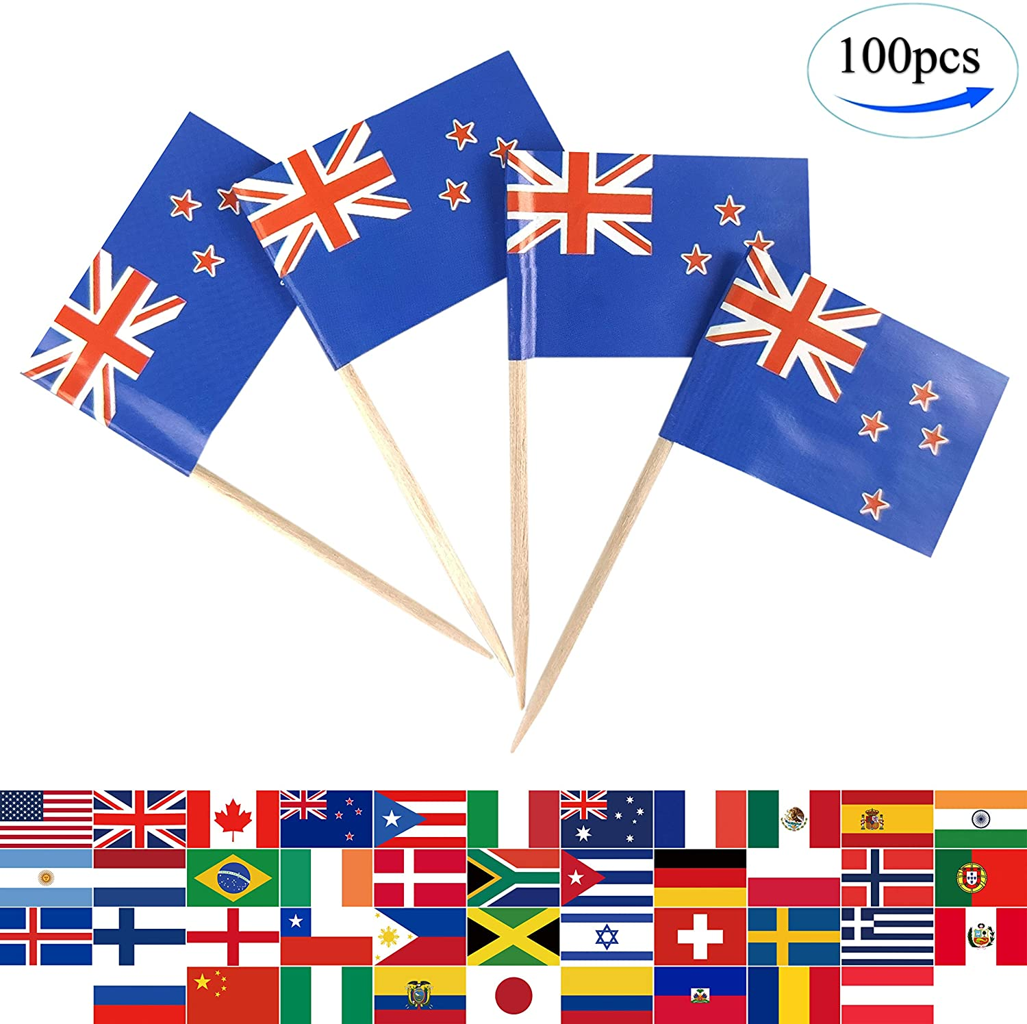 JBCD 100 Pcs New Zealand Flag Toothpicks New Zealander Flags Cupcake Toppers Decorations, Cocktail Toothpick Flag Cake Topper Picks Mini Small Flag Cupcake Pick Sticks