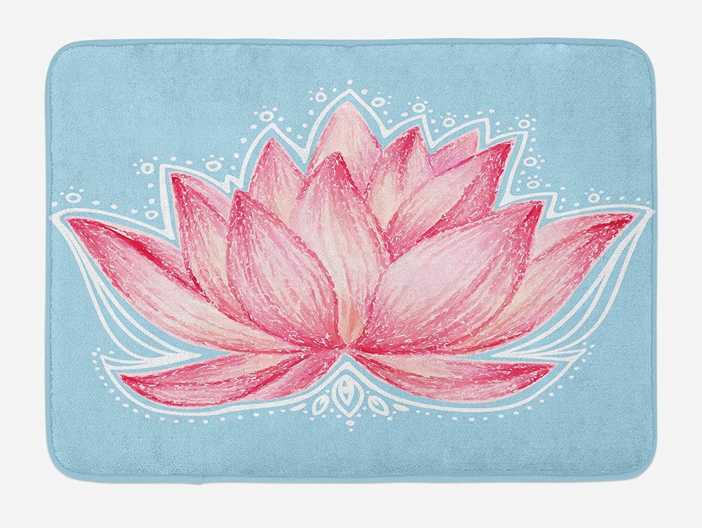 Ambesonne Lotus Bath Mat, Gardening Theme Illustration of a Lotus Flower Pattern Botanical Design Artwork, Plush Bathroom Decor Mat with Non Slip Backing, 29.5