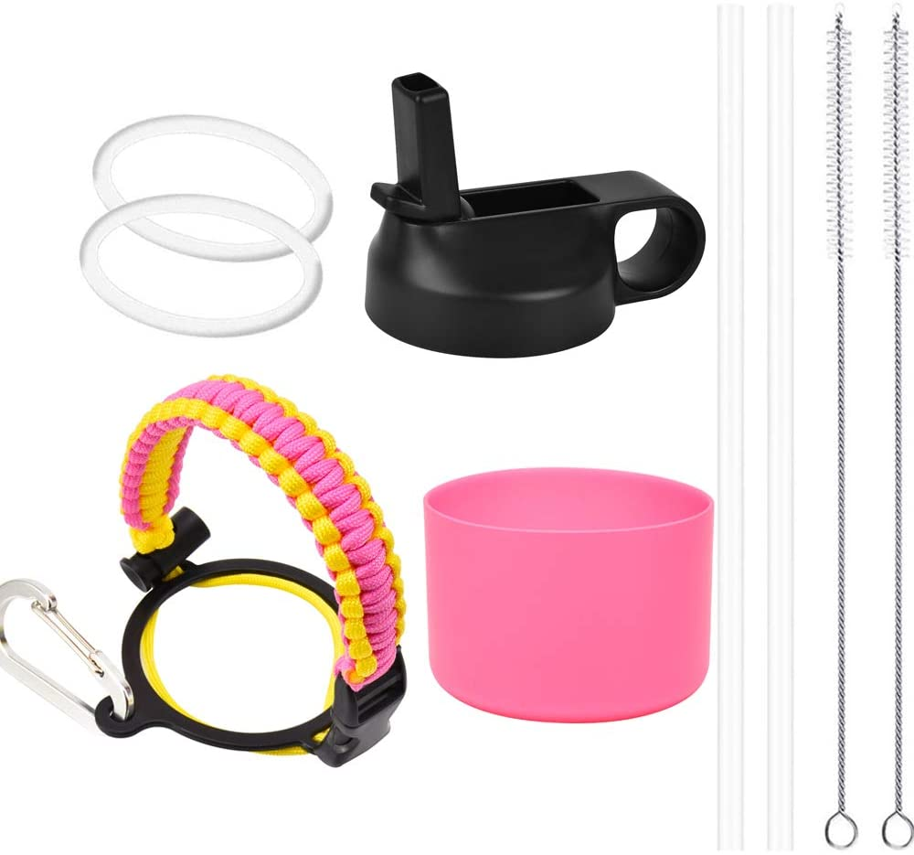 ZERISM Wide Mouth Straw Lid and Silicone Boot for 12-40 oz Sports Water Bottles, Add 1 Paracord Handle, 2 Straws, 2 Brushes, 2 Replacement Gaskets, Full Value 9-Products Pack