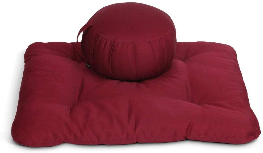 Samadhi Cushions Zafu Meditation Cushion Set, No Cover - Set of 2 (Burgundy)