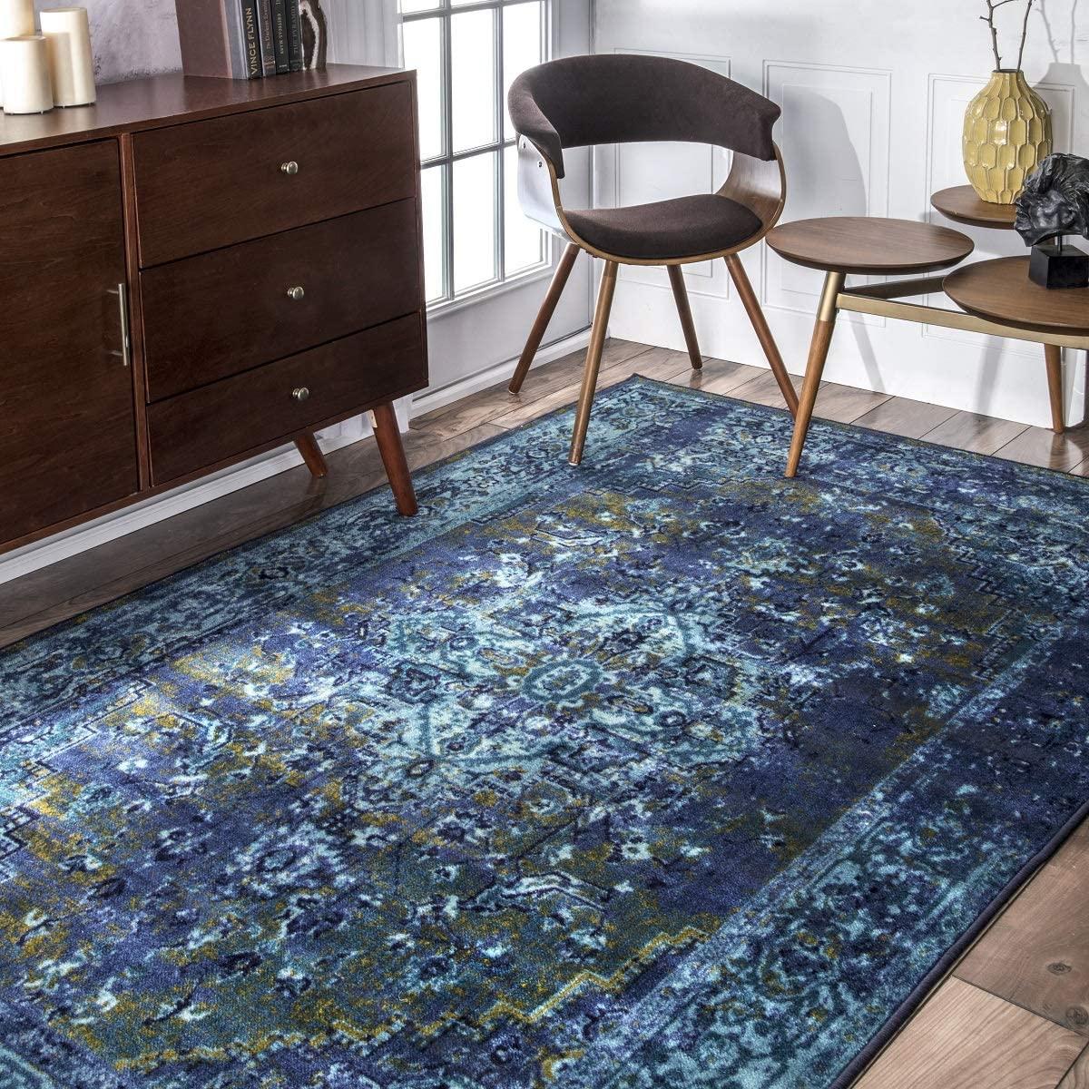 nuLOOM Reiko Vintage Persian Area Rug, 5 x 8, Blue
