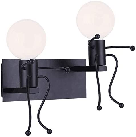 KAWELL Vintage Wall Light Industrial Retro Wall Lamps Bedroom Creative Little People Wall Sconce Lighting Indoor Double Head Metal LED Bedside Lamp for Children Room Black