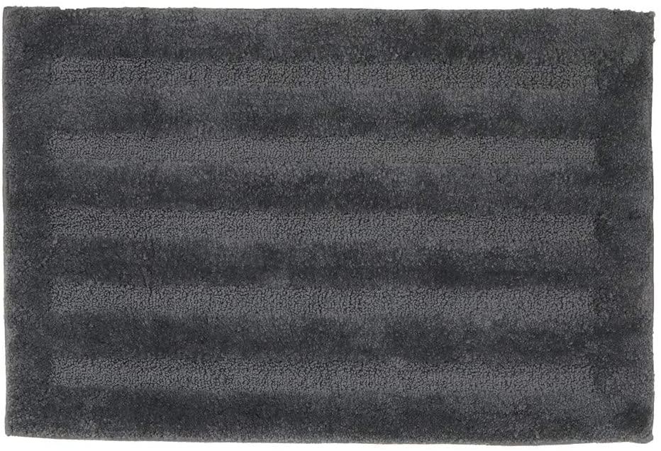 Seavish Luxury Grey Bath Rug, 15.7 X 23.6 Inches Striped Shaggy Bathroom Rugs,Non Slip Dry Fast Water Absorbent Machine Washable Tufted Bath Mat Microfiber Soft Toilet Mat Floor Carpet