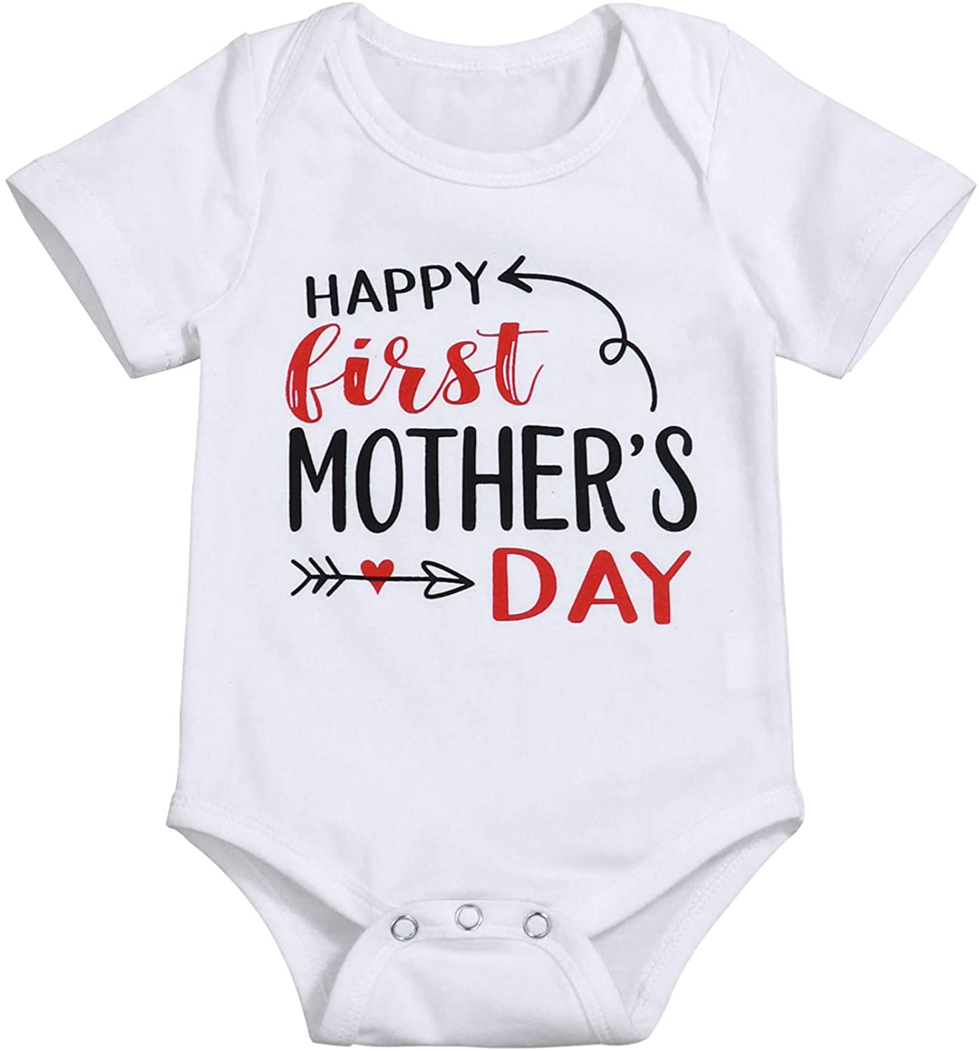 Happy 1st Mothers Day Outfit Newborn Infant Baby boy Girl Clothes Short Sleeve Romper Bodysuit Onesie