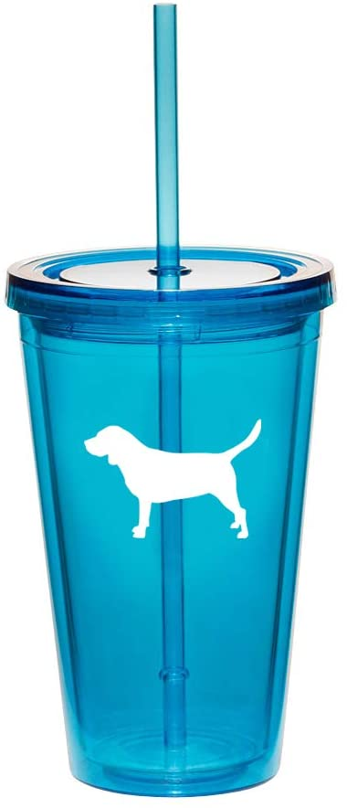 16oz Double Wall Acrylic Tumbler Cup With Straw Beagle (Light-Blue)