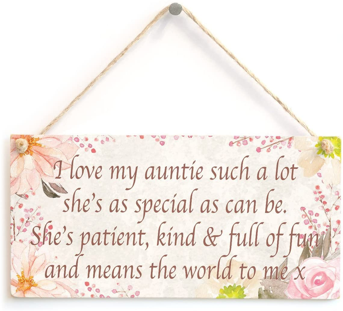 Meijiafei I Love My Auntie Such a lot She's as Special as can be. - Super Cute Home Accessory Gift Sign for Aunt from Niece and Nephew Flowers Design 10