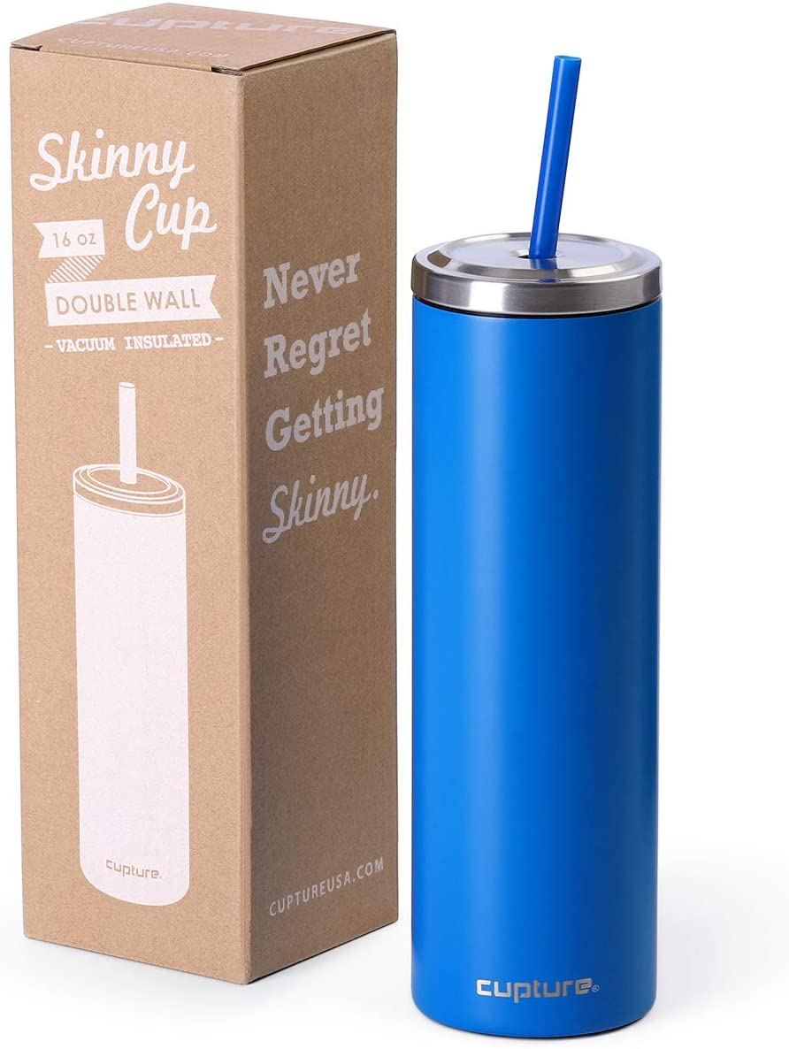 Cupture Stainless Steel Skinny Insulated Tumbler Cup with Lid and Reusable Straw - 16 oz (Electric Blue)