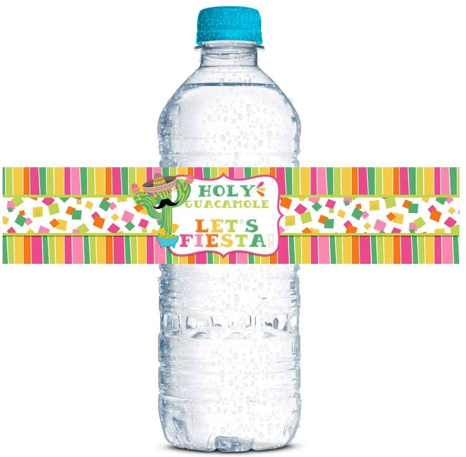 Holy Guacamole Fiesta Celebration Birthday Party Waterproof Water Bottle Sticker Wrappers for Girls, 20 1.75