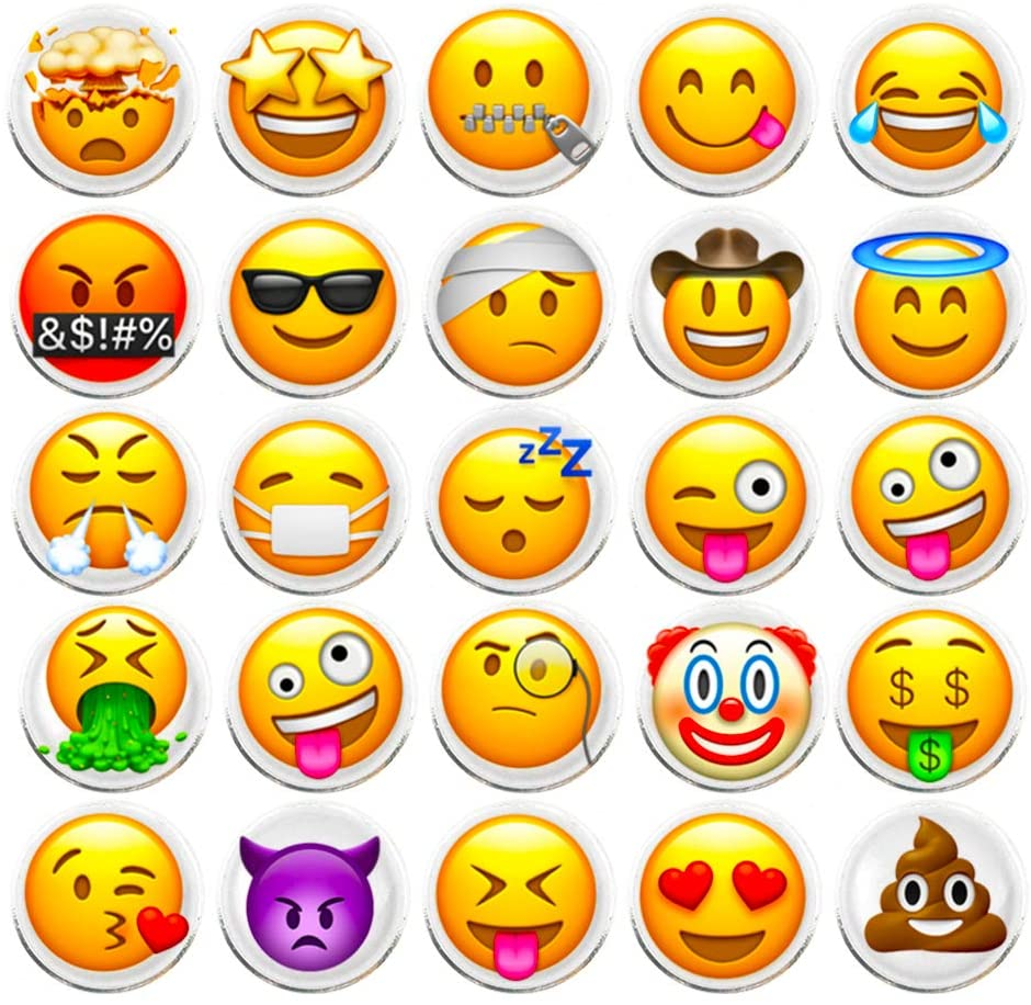 100 Pieces Creative Emoji Steel Thumb Tacks Push Pins Fashion Decorative Different Smiley face Patterns for Photos Wall Maps Bulletin Board or Corkboards (Emoji)