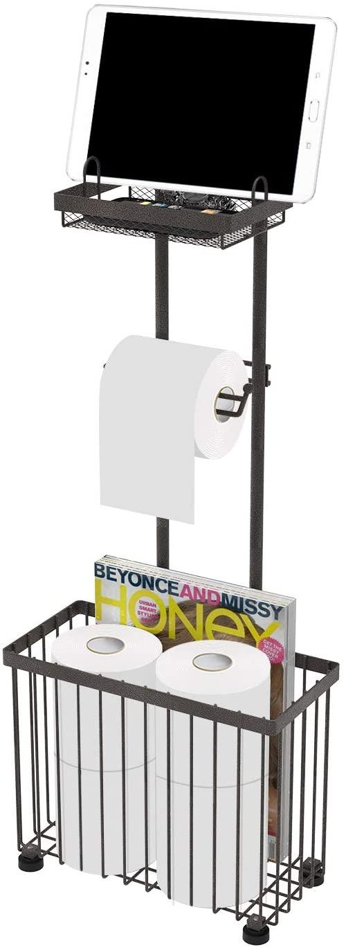 X-cosrack Freestanding Toilet Paper Holder Toilet Tissue Rack Scroll Stand Roll Dispenser with Storage Shelf Reserve for Phone Tablet Magazine Bathroom Organizer Bath Tissue Organizer (Dark Brown)