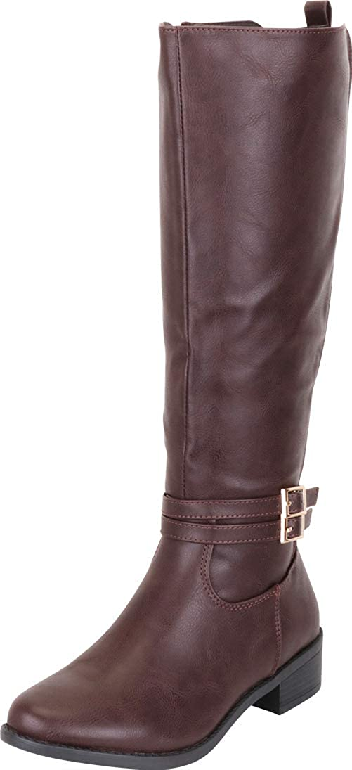 Cambridge Select Women's Strappy Buckle Low Heel Knee-High Riding Boot