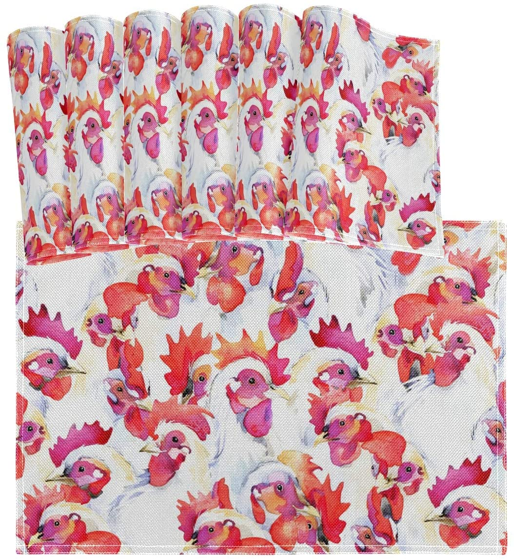 vvfelixl White Rooster Chicken Hen Set of 6 Placemat 18