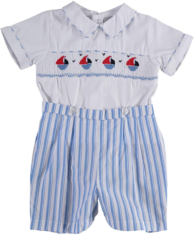 Carriage Boutique Boys Shorts Set - Blue Nautical
