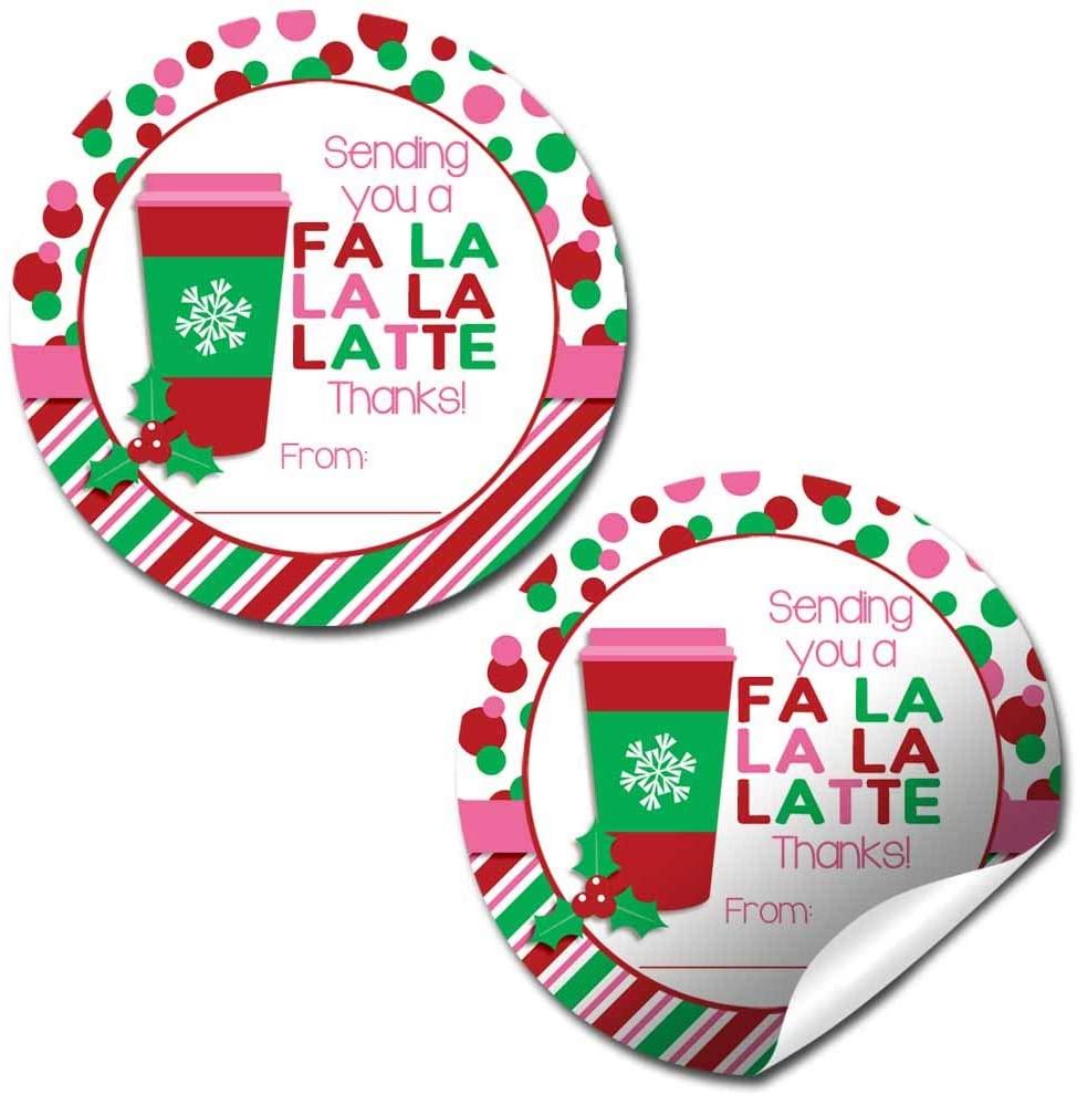 Fa La La La Latte Christmas Coffee Holiday Thank You Sticker Labels for Girls, 40 2