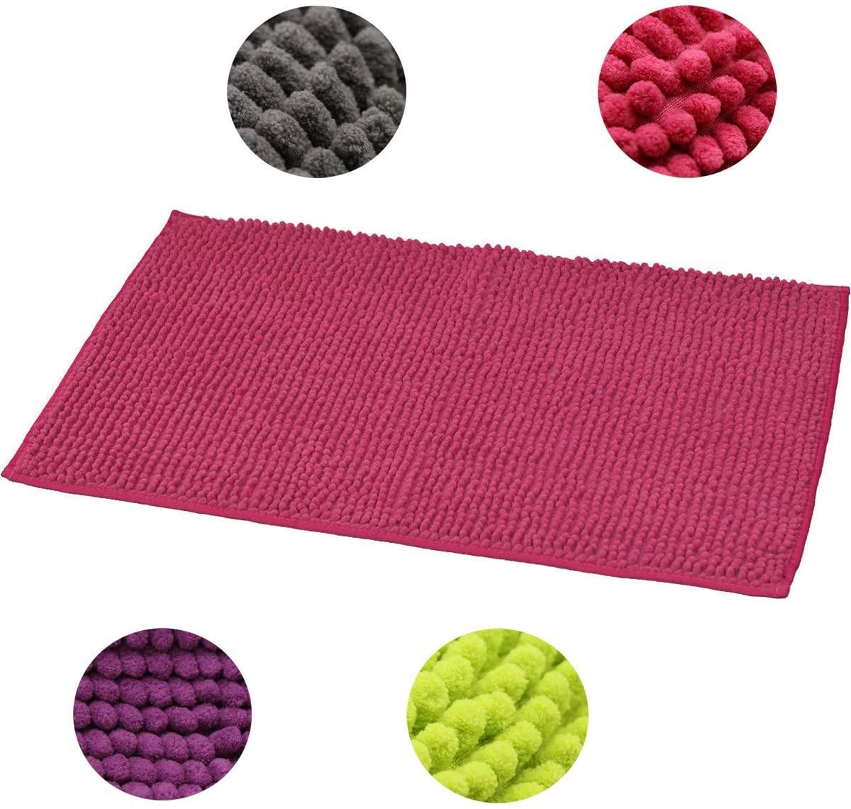 EVIDECO Soft Microfiber Area Polyester Luxurious Balls Mat Bath Rug, 7707150, Pink