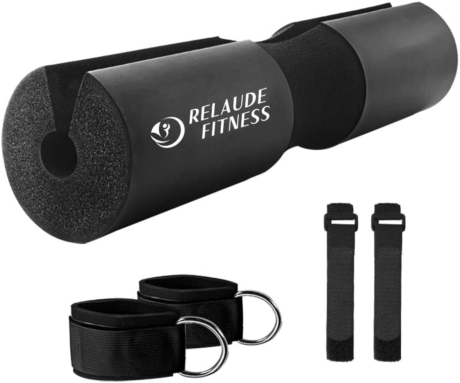 Relaude Fitness - 5 Pack Barbell Pad Set - Barbell Pad for Squats Lunges & Hip Thrusts, 2 Safety Straps, 2 Gym Ankle Straps for Cable Machines