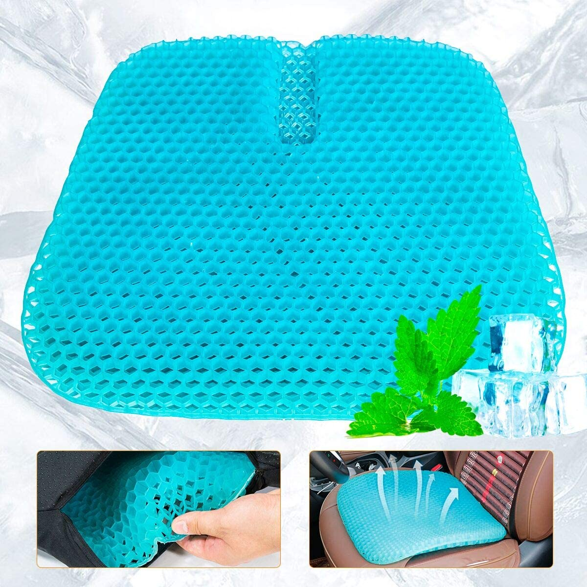 Blumoo Large Size Gel Seat Cushion, Double Thick Honeycomb Office Cushion Seat Cushion Pad Breathable Car Home Gel Cushion Relief Back Pain Gel Cushion