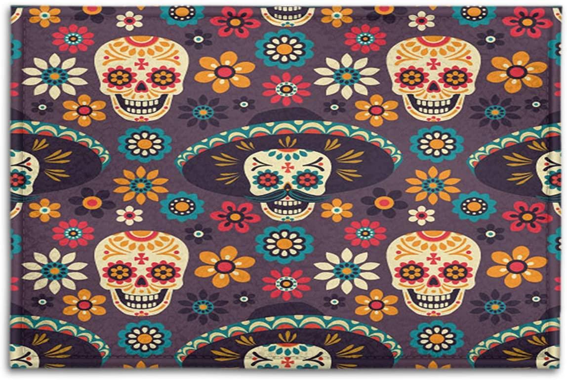 BJOLEdS Indoor Outdoor Doormats Seamless Day of The Dead Pattern with Sugar Skulls Flowers on Dark Background Decorative Non Slip Entrance Floor Mats Bathroom Kitchen Areas Shoe Rugs, 15.7