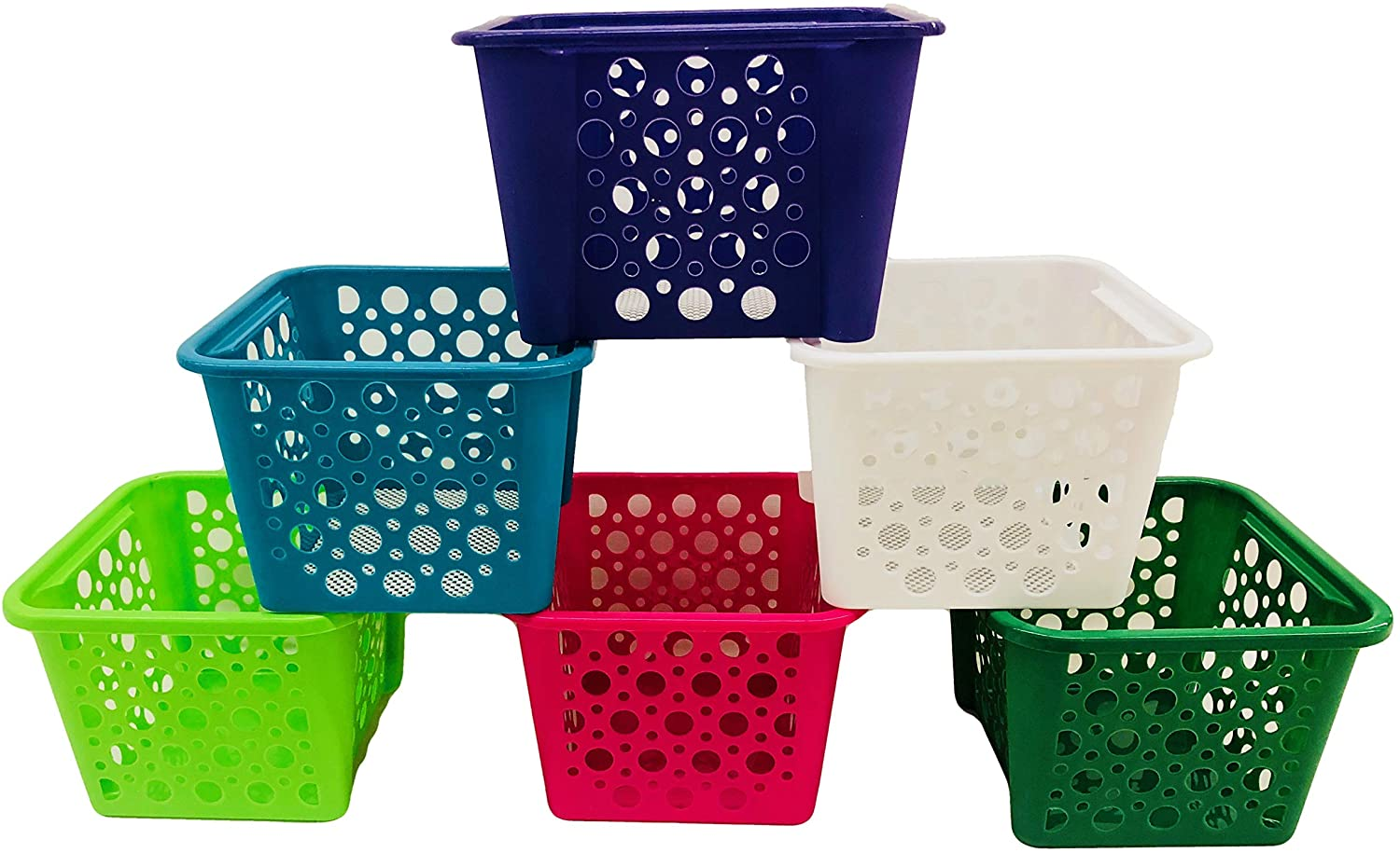 Java Set of 6 Storage Plastic Stacking Bins in Assorted Colors